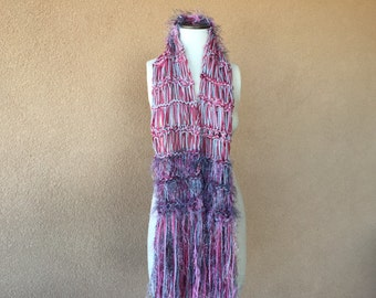 Chunky Pink and Grey Scarf, Grey and Rose Pink Scarf Handknit Scarf Gift Warm Soft Fringe Scarf