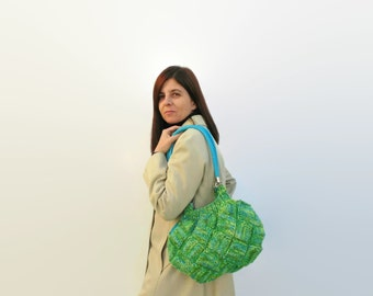 Boho Bag - Shoulder Bag for Woman Knit in Blue Green Variegated Wool - Long Straps - Purse Hobo Bag