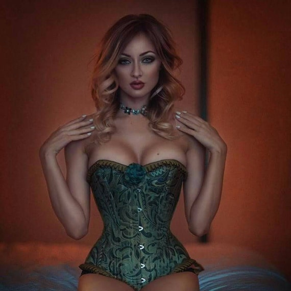 Green Silk Corset Poison Ivy Steel Boned Overbust - made to measure St Patricks Day