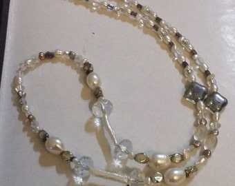 Price Reduction Mothers Day Freshwater Pearls, Crystal and Vintage Silvered Glass Necklace