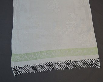 Vintage Linen Damask Towel White with Lime Green Stripe, 39 x 22 inches, 1940s Linens