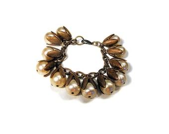 40s Miriam Haskell Bracelet, Pearl Bead Haskell Charm Bracelet, Vintage Egyptian Revival Bracelet, 1940s Haskell Jewelry