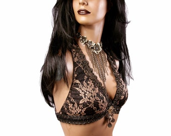 Halter, C Cup, Dark Gold Lace, Brass, Black, Bellydance, Costume, Tribal, Fusion, Sequins, Hoop, Circus, Carnival, Bra