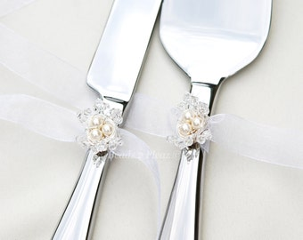 Wedding Cake Server And Knife Set, REMOVABLE Birds Nest Decoration, Swarovski Crystal And Pearl Keepsake Cake Serving Set
