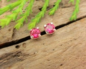 Ruby Lab Grown Earrings in Gold, Silver, or Platinum with Genuine Gems, 3mm - Free Gift Wrapping