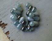 blue Czech beads,  glass teardrops czech beads, translucent blue denim mix   6mm x 9mm   / 25 beads  6aZ0208