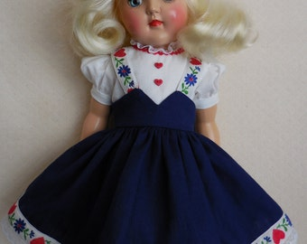 """For Ideal P91 - 16"""" Toni Doll, Tyrolean Dress in Navy with Embroidered Trim, One-of-a-Kind Re-Creation of an Original"""