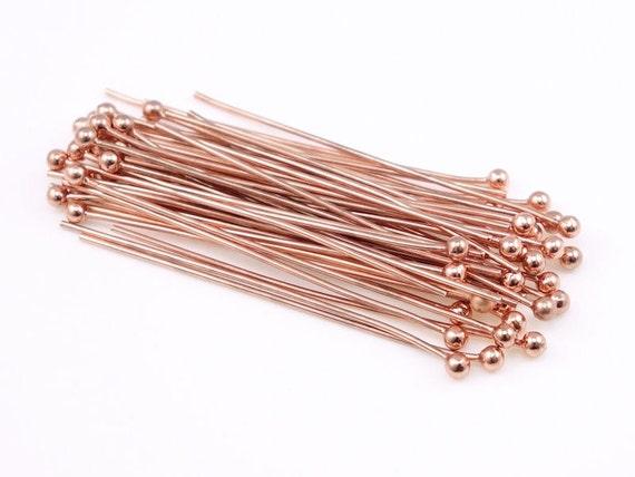 "48 Copper Ball Pins 1.5"" Bright Solid Raw Copper Ball Head Pins 22 Gauge 22 g 1 1/2""  Ballpin Findings (FSC52)"