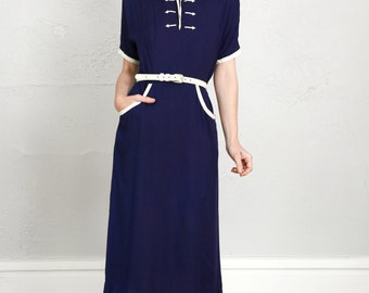 SALE- Cotton Navy Blue Dress  White Accents