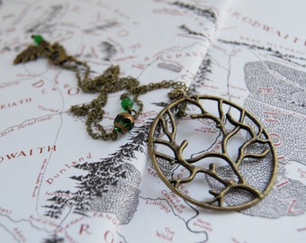 Forest Necklace | Tree Forest Charm Necklace | Brass Tree Pendant | Nature Jewelry