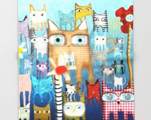 Cats Throw Blanket  - My unique colorful art