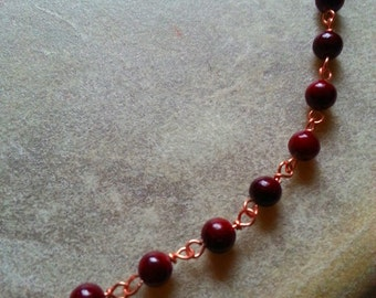 Tiny Red Beaded Necklace