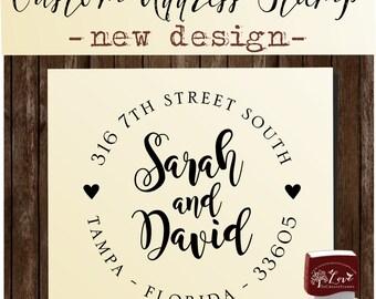 Calligraphy Handwriting Script Custom Return Address Stamp - Personalized SELF INKING Wedding Stationery Stamper - Style 129