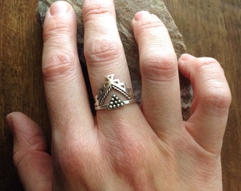 Tribal stacking ring set - geometric Aztec and triangle stackable rings