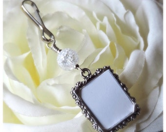 Wedding bouquet photo charm with crackled quartz.Bridal bouquet charm & small picture frame.Gift for a bride.Bridal shower gift. Remember me