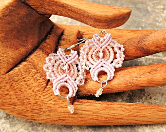 Soft Pink Macrame Earrings - Pink Beaded Macrame Earrings - Micro Macrame Earrings - Handmade Macrame Jewelry