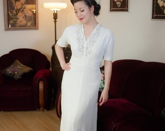 Vintage 1940s Dress - Gorgeous Cream Rayon Crepe Full Length 40s Wedding Gown with Soutache and Studs