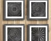 Geometric Print four piece wall art, engineering art, engineer gifts, mathematical art, geekery, husband gift, vintage engineering drawing