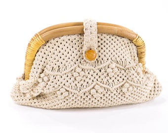 Vintage Macrame Clutch Purse Woven Ivory Cotton Boho Hippie Bag