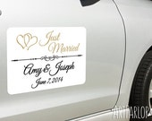 "Wedding Car Magnet, Just married, Car Magnet 18""x12"", white, with rounded corners, removable"