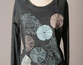 women's pullover sweatshirt, women's sweatshirt, sea urchins, coral, ocean inspired