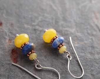 Sodalite and Yellow Jade Earrings