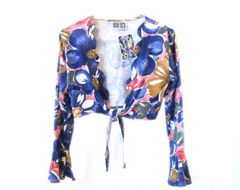 90s NEXT ERA Tie Up Floral Crop Top with Bell Sleeves S/M
