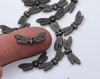 Black Dragonfly Wing Beads, TierraCast Black Oxide Plated, Lead Free Pewter, Charcoal Toned Fairy Wing Beads