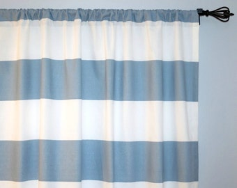 Blue White Stripes Curtain, Pair of Rod Pocket Panels - Cabana Cashmere Blue / White, Horizontal Stripes,  Dusty Blue Chambray - Choose Size