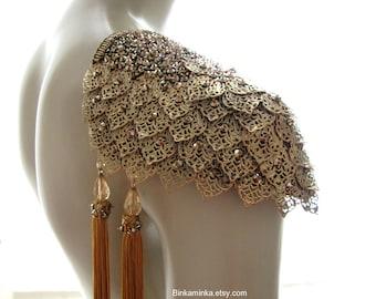 Tassel Armor Epaulettes Phoenix Golden Brass Epaulettes Dragonscale Epaulettes Shoulder Jewelry Tassels Fringe Swarovski Cosplay Burlesque