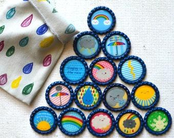 Homeschool Learning- Science Classroom Bottlecap Magnets- Weather Magnets- Teacher Magnets- Learning Bottlecap Magnets