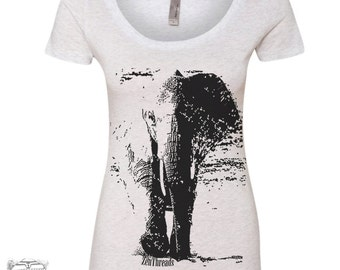 Womens Elephant TriBlend Scoop Neck Tee - T Shirt S M L XL XXL (+ Colors)
