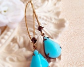Vintage Aqua Earrings - Art Deco Jewelry - Victorian Earrings - Gatsby Inspired Jewelry - Best Bridesmaids Gifts - SOMERSET Aqua