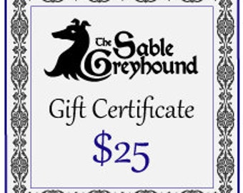 GIFT CERTIFICATE -- 25 dollars