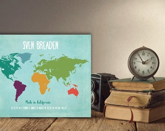 Personalized gift for godchild baptism gift girl boy baptism baby shower gifts kids world map poster unique baby gifts world map nursery art negle Image collections