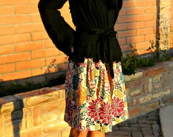 Womens Skirts-Midi Skirt-Modest Skirts-One of a Kind Hand Looped Layered Lofdahl Wrap Skirt-Chic Modern Women's Clothing for Many Body Sizes