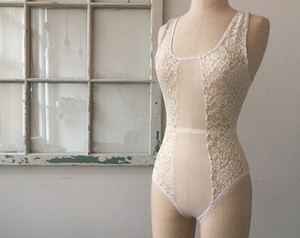 Bridal Lingerie Lines for Days Cream Lace and Mesh Lingerie Bodysuit