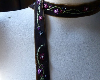 SALE Brown Velvet Ribbon Beaded and Embroidered  Trim for Headbands, Chokers, Costumes, Garments