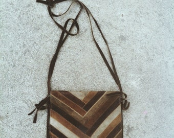 Vintage Brown leather cross body bag