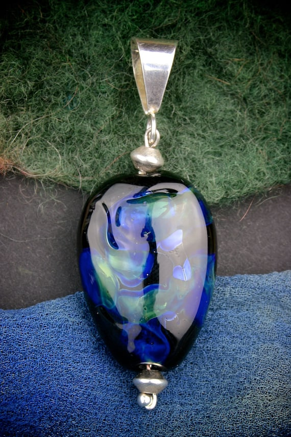 "Artisan Lampwork Bead Pendant SRA ""Deep Water"" Silver Glass Lustre Focal Oval ~ Sterling Silver"