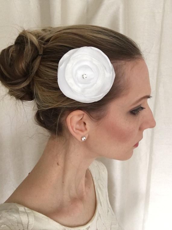 White Satin Flower Hair Clip with Glass Rhinestone, Wedding Hair Accessory, Bridal Hair Clip, Bridal Hair Piece, Bridal Headpiece, Wedding