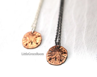 Sand Dollar Necklace, Sand Dollar, Beach Necklace, Boho, Petite, Sterling Silver, Copper Sand Dollar, Tide Pool Necklace, Beach Jewelry