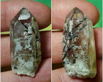 QUARTZ With BLACK TOURMALINE (Schorl) And A Rainbow From Namibia Africa