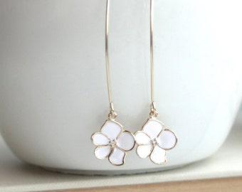 White Gold Enamel Flower Dangle Earrings. Marquise, Long Dangle Bridesmaids Gift. Long Floral Earrings, White and Gold Wedding Summer White.