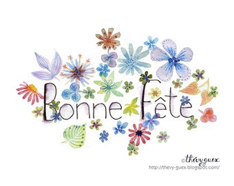 Bonne Fête flower watercolor notecard, Cute flowers, Botanical illustration card, Flower stationery, Flower greetings, Mothers day, Cute