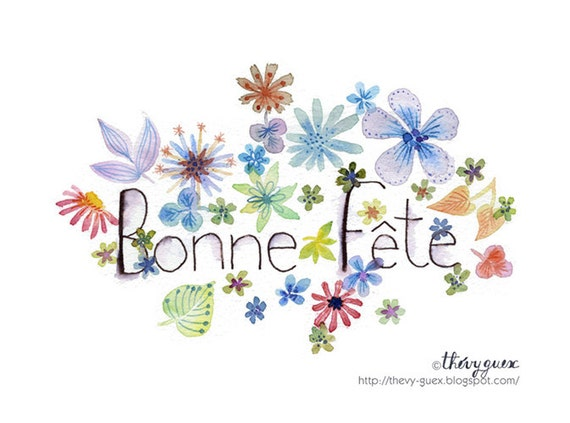 Bonne f te flower watercolor notecard cute flowers botanical - Bonne fete humour ...