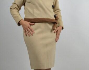 Designer Suit, Brown Suit, Wool Suit, Pencil Skirt  Jacket & Skirt, Size Small, 60s Suit, Winter Suit
