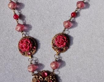 SUPER SALE--Vintage Burgundy Roses and Rhinestones necklace--OOAK