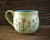 Pottery Mug with 5 flowers and Ladybug - Coffee Mug - Large Mug - by DirtKicker Pottery