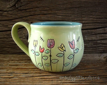 Pottery Mug with 5 flowers and Ladybug - Coffee Mug - Large Mug - by DirtKicker Pottery